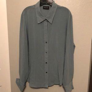 Lightweight spa blue business blouse